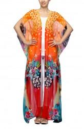 Indian Fashion Designers - Satya Suman - Contemporary Indian Designer - Flowy Printed Kaftan Shirt - SS-NO-SS16-STL52