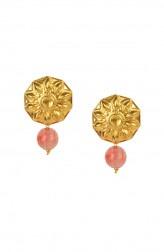 Indian Fashion Designers - Silvermerc - Contemporary Indian Designer - Pink Quartz Stones Studded Earrings - SM-SS16-SME-1079
