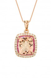 Indian Fashion Designers - Strand of Silk - Contemporary Indian Designer - Pink Sapphire Pendant Necklace - SOS-AW15-CJ-RP33451P-MO