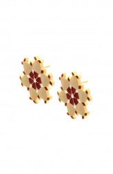 Indian Fashion Designers - Te Maya - Contemporary Indian Designer - Maroon with Off-White Color Meenakri Studs - TMA-SS16-M126