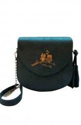 Indian Fashion Designers - Tresclassy - Contemporary Indian Designer - Olive Suede Saddle Bag - TC-SS16-TC1001