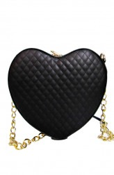 Indian Fashion Designers - Tresclassy - Contemporary Indian Designer - Black Quilted Heart Shaped Bag - TC-SS16-TC1003