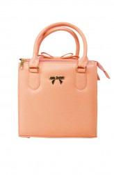 Indian Fashion Designers - Tresclassy - Contemporary Indian Designer - Peach Bow on Top Bag - TC-SS16-TC1004