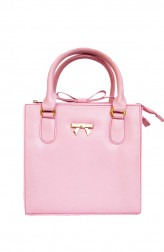 Indian Fashion Designers - Tresclassy - Contemporary Indian Designer - Baby Pink Bow on Top Bag - TC-SS16-TC1005
