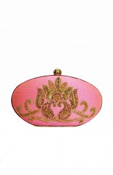 Indian Fashion Designers - Tresclassy - Contemporary Indian Designer - Candy Pink Oval Clutch - TC-SS16-TC1505