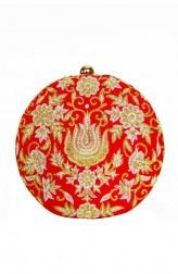 Indian Fashion Designers - Tresclassy - Contemporary Indian Designer - Red Heavy Pita Work Clutch - TC-SS16-TC1509