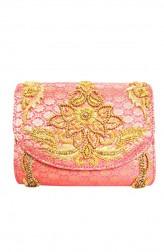 Indian Fashion Designers - Tresclassy - Contemporary Indian Designer - Coral Pink Classic  Flap Bag - TC-SS16-TC1513