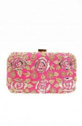 Indian Fashion Designers - Tresclassy - Contemporary Indian Designer - Bright Pink Rose Print Clutch - TC-SS16-TC1520
