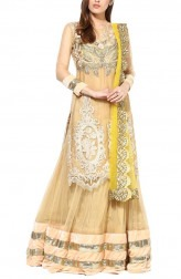 Indian Fashion Designers - True Browns - Contemporary Indian Designer - Beige Net Long Top Lehenga - TBS-SS16-TB-00928
