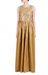 Indian Fashion Designers - True Browns - Contemporary Indian Designer - Beige Sequins Embroidered Dress - TBS-SS16-TB1011