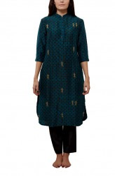Indian Fashion Designers - Myoho - Contemporary Indian Designer - Warli Embroidered Basic Kurta - MYO-SS16-MYO-253