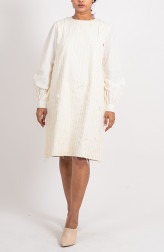 Indian Fashion Designers - Ahmev - Contemporary Indian Designer - Stripped Textured Puff Sleeve Dress - AHM-BB-002