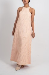 Indian Fashion Designers - Ahmev - Contemporary Indian Designer - Peach Stripped Textured Halter Dress - AHM-BB-010