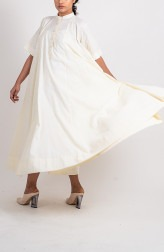 Indian Fashion Designers - Ahmev - Contemporary Indian Designer - Plain Textured Godet Dress With Sleeve - AHM-BB-016