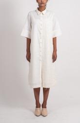 Indian Fashion Designers - Ahmev - Contemporary Indian Designer - Half Stripped Textured Shirt - AHM-BB-021