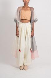 Indian Fashion Designers - Ahmev - Contemporary Indian Designer - Grey Peach Organza Overlay - AHM-BB-025