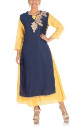 Indian Fashion Designers - Anju Agarwal - Contemporary Indian Designer - Gota Work Navy  Blue And Yellow Double Layer Kurti - ANJU-AW17-LKA3374