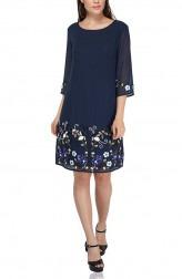 Indian Fashion Designers - Attic Salt - Contemporary Indian Designer - Border Embellished Blue Dress - AS-AW18-00374