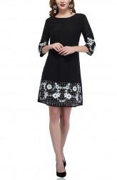 Indian Fashion Designers - Attic Salt - Contemporary Indian Designer - Border Embellished Black Dress With Border Design - AS-AW18-00375