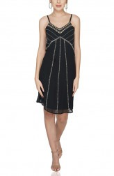 Indian Fashion Designers - Attic Salt - Contemporary Indian Designer - Lines of Embroidered Cocktail Dress - AS-SS20-2019107
