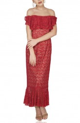 Indian Fashion Designers - Attic Salt - Contemporary Indian Designer - Red Shoulder Lace Dress - AS-SS20-ASW015