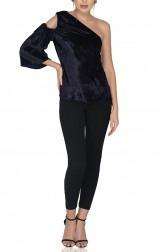 Indian Fashion Designers - Attic Salt - Contemporary Indian Designer - Navy Single Sleeve Velvet Top - AS-SS20-OO314