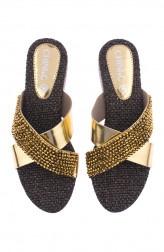 Indian Fashion Designers - CHINI C DESIGNS - Contemporary Indian Designer - Chiara Gold Flats - CCD-AW19-CHIARA-01
