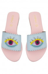 Indian Fashion Designers - CHINI C DESIGNS - Contemporary Indian Designer - Evil Eye Blue Flats - CCD-AW19-EE-01
