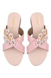 Indian Fashion Designers - CHINI C DESIGNS - Contemporary Indian Designer - Pink Pearly Flats - CCD-AW19-PEARLY-PINK