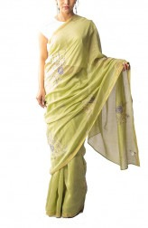 Indian Fashion Designers - Coorv Designs - Contemporary Indian Designer - Olive Purple And Beige Chikan Embroidered Saree With Rose Butas - CRV-SS19-CDCS1901A