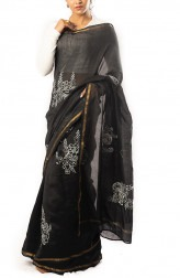 Indian Fashion Designers - Coorv Designs - Contemporary Indian Designer - Black And Ivory Chikan Embroidered Saree With Gold Dabka Dots - CRV-SS19-CDCS1905C