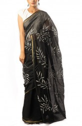 Indian Fashion Designers - Coorv Designs - Contemporary Indian Designer - Black And Ivory Chikan Embroidered Saree With Floral Butas - CRV-SS19-CDCS1906