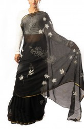 Indian Fashion Designers - Coorv Designs - Contemporary Indian Designer - Black And Ivory Chikan Embroidered Saree With Gold Zari Border - CRV-SS19-CDCS1907A