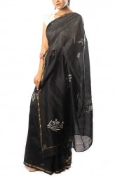 Indian Fashion Designers - Coorv Designs - Contemporary Indian Designer - Black And Ivory Chikan Embroidered Saree With Multi Butas - CRV-SS19-CDCS1910
