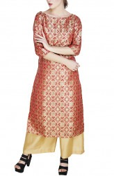 Indian Fashion Designers - GirlsAndBelles - Contemporary Indian Designer - Red Banarasi Kurta - GAB-AW18-BNRS005