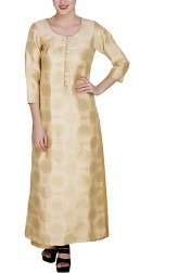 Indian Fashion Designers - GirlsAndBelles - Contemporary Indian Designer - Beige And Gold Brocade Long Kurta - GAB-AW18-BROC001