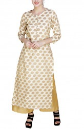 Indian Fashion Designers - GirlsAndBelles - Contemporary Indian Designer - Beige And Gold Brocade Butti Long Kurta - GAB-AW18-BROC002