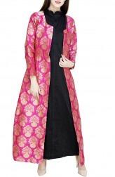Indian Fashion Designers - GirlsAndBelles - Contemporary Indian Designer - Black And Pink Tafetta Silk Inner Kurta With Brocade Jacket - GAB-AW18-JK004