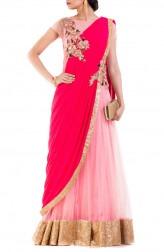 Indian Fashion Designers - Anju Agarwal - Contemporary Indian Designer - Rani Pink Gown Saree - ANJA-AW16-LGA-341