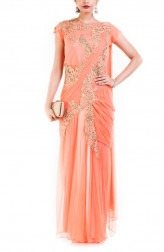 Indian Fashion Designers - Anju Agarwal - Contemporary Indian Designer - Light Orange Drape Gown Saree - ANJA-AW16-LGA-342