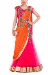 Indian Fashion Designers - Anju Agarwal - Contemporary Indian Designer - Watermelon Pink Fish Cut Gown Saree - ANJA-AW16-LGA-343