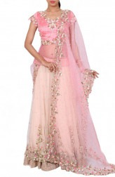 Indian Fashion Designers - Anju Agarwal - Contemporary Indian Designer - Layered Embroidered Baby Pink Lehenga - ANJA-AW16-LGA0176