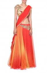 Indian Fashion Designers - Anju Agarwal - Contemporary Indian Designer - Sunset Orange Lehenga Saree - ANJA-AW16-LGA0180