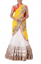 Indian Fashion Designers - Anju Agarwal - Contemporary Indian Designer - Ivory and Tangy Yellow Lehenga Saree - ANJA-AW16-LGA178