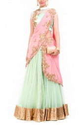 Indian Fashion Designers - Anju Agarwal - Contemporary Indian Designer - Sea Green and Pinkish Peach Lehenga - ANJA-AW16-LGA291
