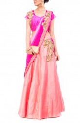 Indian Fashion Designers - Anju Agarwal - Contemporary Indian Designer - Fuschia Pink Silk Lehenga - ANJA-AW16-LGA294