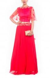 Indian Fashion Designers - Anju Agarwal - Contemporary Indian Designer - Tomato Red Raw Silk Croptop Set - ANJA-AW16-LGA308
