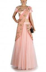 Indian Fashion Designers - Anju Agarwal - Contemporary Indian Designer - Peach Pink Lehenga Saree - ANJA-AW16-LGA359