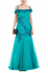 Indian Fashion Designers - Anju Agarwal - Contemporary Indian Designer - Turquoise Cocktail Gown - ANJA-AW16-LKA-3306