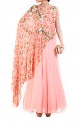 Indian Fashion Designers - Anju Agarwal - Contemporary Indian Designer - Blush Pink Printed Cape Gown - ANJA-AW16-LKA-3318